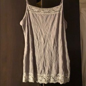 Maurice's plus size 2 gray lace trimmed tank top